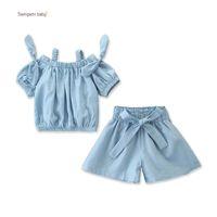 ingrosso fuori denim corto-Baby Girl Denim Suit Toddler Infant Girl Designer Outfit Abbigliamento Sling Off Shoulder Top Denim T-Shirt Elastico Solid Bow-Tie Shorts