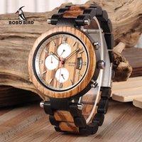bobo relojes al por mayor-BOBO BIRD Fecha automática Reloj de madera Hombres Relogio Masculino Relojes de pulsera de negocios de lujo con V-P17 Envío de la gota