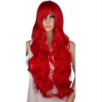 peluca rizada rubia roja al por mayor-Peluca cosplay rizada Fiesta de disfraces Rojo Rosa astilla Gris Rubio Negro 70 cm Pelucas de cabello sintético de alta temperatura