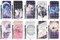 couro caso 3d venda por atacado-3D Caso a carteira para Iphone 11 Pro XS MAX XR X 7 6 Samsung Nota 10 S10 S10e Lobo Flower Cat Lace borboleta abacaxi Marble Virar Capa