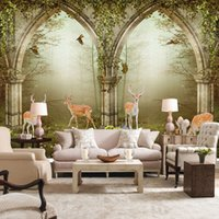 Wholesale flowers living room sofa for sale - Custom D Photo Wall Paper European Style Pastoral Flower Vine Forest Deer Living Room Sofa TV Background Wall Mural Wallpaper