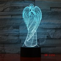 Wholesale wings decor resale online - Angle Wings Color Changing Led Kids Bedside Remote Lighting Fixtures D Visual USB Desk Lamp Home Decor Night Light AW