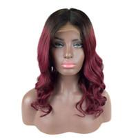 Wholesale burgundy human hair wigs resale online - Burgundy Ombre Wig Human Hair Lace Front Wig Loose Wave Virgin Peruvian Human Hair Full Lace Wig Pre Plucked Two Tone B j