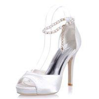 saltos de strass de prata bridal venda por atacado-Agradável Marfim Pérolas Sapatos de Casamento para a Noiva Strass Dedo Apontado Toe de Prata de Alta Stiletto Saltos De Cristal Do Partido Nupcial Da Dama de Honra Vestido Sapatos T-St