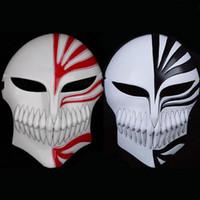 Wholesale bleach ichigo full cosplay online - Plastic Death Ichigo Kurosaki Bleach Mask Christmas Dance Masquerade Party Cosplay Halloween Full Face Black Red Cool Mask