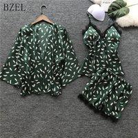 nueva lencería de seda al por mayor-BZEL Nuevos Conjuntos de Pijamas de Verano Sexy Seda Ropa de Dormir de Satén 3 Set de Tres Piezas Ropa de Dormir Ropa Interior Ropa de Dormir Pijamas