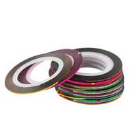 nagelstreifen strippband großhandel-Nail Art Glitter Gold Silber Stripping Tape Line Streifen Dekor Werkzeuge 30 Farben Nail Sticker DIY Beauty Zubehör
