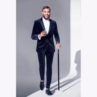 костюмы мужские дизайнерские оптовых-Latest Coat Pant Design Navy Blue Velvet Men Suit Formal Slim Fit Tuxedo 2 Piece Blazer Custom mens Party Suits Terno Masculino