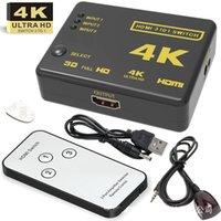 dispositivos de video al por mayor-2019 al por mayor de 2K 4K 3D 3 en 1 fuera HDMI DHMI dispositivos automáticos puerto de conmutación de salida HD convertidor de conmutación de vídeo con control remoto RF