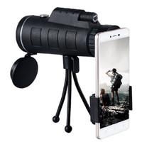 ingrosso treppiedi telescopici-Durable 40X60 Optical HD Monocular Telescope + Treppiede + Clip per telefono