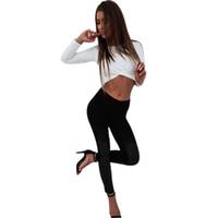 ingrosso pantaloni in pelle di pizzo-NEW-Women Casual Elastic Waist Splice Lace Faux Leather Stretch Skinny Leg Pantaloni Ladies Elastic Pencil Pants Leggings