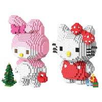 figura vaquinha venda por atacado-DHL DIY diamante Granule Hello Kitty Melody Blocos Ponto Micro blocos de construção Brinquedos meninos bonitos dos desenhos animados Meninas leilão Figuras caçoa presentes