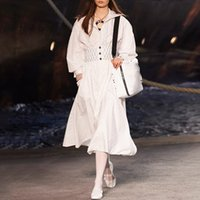calção de vestido de marinheiro venda por atacado-2019 Primavera Vestidos Mulheres Sailor Collar Manga Curta Cintura Alta Túnica Mini Vestido Feminino Elegante Roupas de Moda