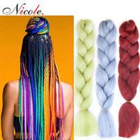mavi renk saç uzatmaları toptan satış-Nicole 24 Inç Omber Jumbo Örgü Tığ Saç Yeni stil Yumuşak Kanekalon Fieber Siyah-Mor-Mavi Renk Gökkuşağı Sentetik Saç Uzantıları