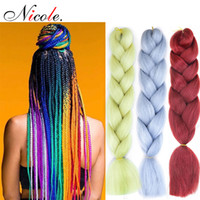 Wholesale black grey synthetic braiding hair resale online - Nicole Inch Omber Jumbo Braiding Crochet Hair New style Soft Kanekalon Fieber Black Purple Blue Color Rainbow Synthetic Hair Extensions