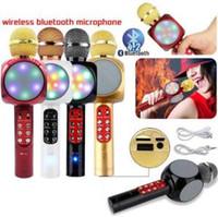 Wholesale kids electronics online - Wireless Bluetooth Microphone WS1816 LED Handheld Karaoke Music Speaker Condenser Microphone Mic USB Home KTV Christmas Toy OOA6318