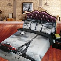 Wholesale 3d bedding sets cars resale online - 3D Car Eiffel Tower print Duvet Cover with pillowcase Bedding Set Microfiber Quilt Cover Zipper Closure NO Comforter
