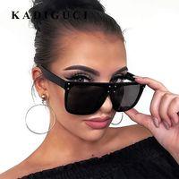 quadratische schutzbrille großhandel-KADIGUCI New Flat Top Sonnenbrille Übergroße Brille Herren Quadrat Sonnenbrille Frauen Mode Berühmte Niet Schwarz Brillen Gafas de sol K316