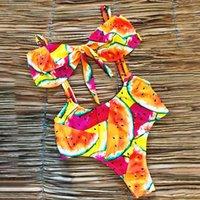bikini mayo mayo toptan satış-2019 Yeni Seksi Yüksek Bel Mayo Kemer Bikini İki Adet Mayo Kadın Yay Bandeau Brezilyalı Bikini Vintage Yüzmek mayo