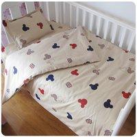 conjuntos de cama de berço de bebês venda por atacado-Ins cama berço 100% conjunto 3pcs cottotton bebé Fundamento incluem fronha + lençol + capa de edredão sem enchimento