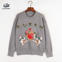 Wholesale red queen clothing online – ideas GOZEDDIT Little Angle Heart Queen Embroidery Knitting Sweater Lady Long Blusas O neck Computer Knitted Designer Clothes