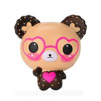 urso kawaii venda por atacado-Panda Com Óculos Squishy Spectacled Urso Squishies Kawaii Lento Ascendente Perfume Telefone Pingente DHL Frete Grátis SQU093