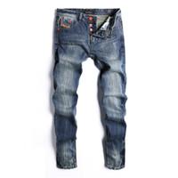 jeans escuro afligido venda por atacado-Azul escuro Distressed Regular Mens Jeans Moda Botão Fly Straight Designer Calças Jeans Adolescente de Luxo Casuais