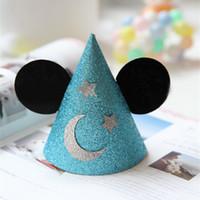 livre de brilho de papel venda por atacado-Frete Grátis 20 pcs Glitter Cores de Papel Tampas de Festa de Aniversário do menino Decoração de Casamento Do Casamento Do Chuveiro de Bebê Glitter Paper Hat