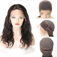ingrosso i capelli del bambino intrecciano-360 parrucche piene del fronte pieno con i capelli del bambino Parrucca brasiliana vergine brasiliana del pizzo dei capelli dell'onda del corpo tessono le parrucche brasiliane dei capelli per le donne nere