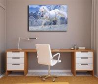 pintura al óleo lienzo caballo blanco al por mayor-El caballo blanco está corriendo lienzo pintura impresión dormitorio decoración del hogar moderno arte de la pared pintura al óleo cartel fotos