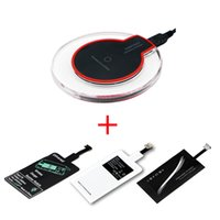 Wholesale coil adapter online – Qi Wireless Charging Kit Transmitter Charger Adapter Receptor Receiver Pad Coil Type C Micro USB kit for iPhone LG Xiaomi Huawei