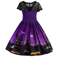 lacets de dessins animés achat en gros de-bébé imprimé ghost filles robe de dentelle enfants manches courtes jupes Halloween cosplay dressup