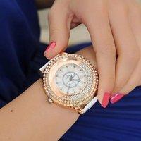 kuvartz boncuk saat toptan satış-Bayanlar İzle Moda Kadınlar İzle Faux Deri Band Shinning Rhinestones Boncuk Saat Kuvars Bilek reloj mujer