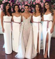 Wholesale wedding dress belts sashes navy resale online - Elegant Sheath Bridesmaid Dresses Belt Sexy Spaghetti Straps Arabic Maid of Honor Gowns High Split Wedding Guest Party Dress