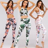 ingrosso donne s racerback top serbatoio-Donne Sexy Set Yoga floreale Tuta Fitness Sports Palestra Suits floreale Canotta + pantaloni di stirata a spalle scoperte - xy19