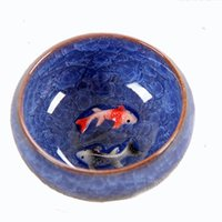conjunto chinês do chá do fu do kung venda por atacado-Novo Design 3D Cerâmica dupla Peixe China xícara De Chá, Kung Fu Xícara De Chá Conjunto Crackle Esmalte Xícara De Chá De Viagem Porcelana Chinesa Xícaras De Chá
