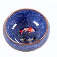 için çay takımları toptan satış-Yeni Tasarım 3D Seramik çift Balık Çin çay Bardağı, Kung Fu Çay Bardağı Set Crackle Sır Seyahat Çay Kase Çin Porselen Çay Fincanı Setleri