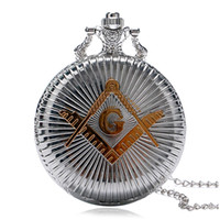 Wholesale masonic silver for sale - Group buy Silver Bronze Masonic G Free Mason Freemasonry Design Antique Bronze Men Quartz Pocket Watch With Necklace Chain Gift