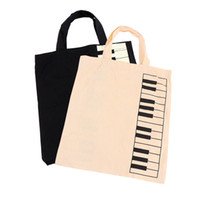 покупка клавиатуры оптовых-1PC Casual Handbag Shopping Bag Portable Cotton And Linen Music Score Bag Keyboard Pattern Fashion Musical Bags for Women Female