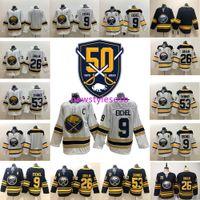 ingrosso maglia nhl jersey xl-NHL Buffalo Sabres 50 ° Oro 9 Jack Eichel 26 Rasmus Dahlin 53 Jeff Skinner delle donne degli uomini dei bambini casa Fuori casa Hockey maglie