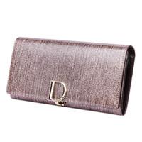 hebilla de bolsa al por mayor-2018 para mujer diseñador de billetera nueva cartera femenina hembra larga sección D hebilla de gran capacidad multi-card billetera de cuero verdadero