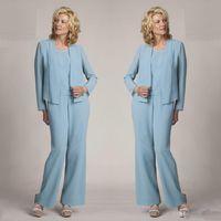 uzun kollu açık mavi gelinlik toptan satış-Açık Mavi anne Gelin Pantolon Takım Elbise Resmi Abiye Uzun Kollu Şifon Artı Boyutu Düğün Elbiseleri