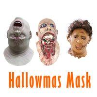 rostos zombis para halloween venda por atacado-2019 Máscara Halloween Hot Adult Zombie Latex Mask Chainsaw Massacre Filme completo do partido do traje Rosto Cosplay Props