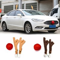 Wholesale reindeers costume resale online - 2 Antlers nose Cute Vehicle Nose Horn Costume Set Horn And Red Christmas Supplies Rudolf Reindeer Christmas Car Decor