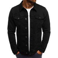 плюс размер уличной одежды оптовых-WENYUJH 2019 мужчины джинсовая куртка высокого качества мода джинсы куртки Slim Fit повседневная уличная Винтаж мужчины Жан одежда плюс размер