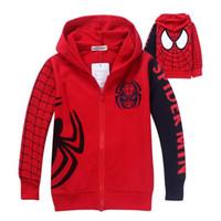 çocuklar için karakter hoodies toptan satış-Yeni Erkek Örümcek Adam Ceket Çocuklar Pamuk Bahar Ceket Chirdren Karakter Güzel Hoodies Giyim Örümcek-adam Erkek Giysileri