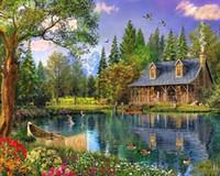 пейзажные рисунки оптовых-Алмазная вышивка Пейзажи Хижины на берегу озера DIY 5d Dimond Painting Наборы для вышивания бисером Мозаичные рисунки Раскраска по номерам