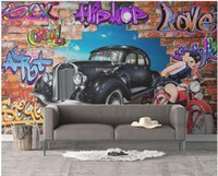 Wholesale classic car wallpaper online - 3d wallpaper on the wall custom photo Doodle car hole background wall painting home decor living room d wall murals wallpaper for walls d