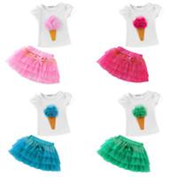 dondurma etekleri toptan satış-Çocuk Kız Set Beyaz T Shirt Puf kol Dondurma Çiçekler + Tutu Katmanlı Etek 2 adet set Sıcak satış Pembe Gül 2-8years Yaz