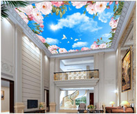 Wholesale painted flowers for walls chinese for sale - WDBH d ceiling murals wallpaper custom photo Blue sky white clouds pink flowers painting home decor d wall murals wallpaper for walls d